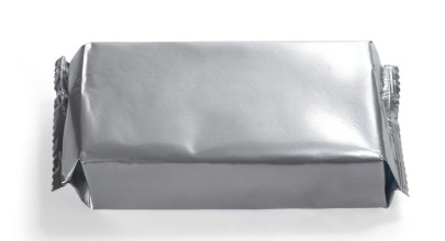 blank silver food packaging on white bacground. with clipping path